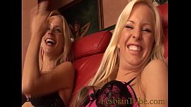 two blonde lesbian plays strap on and dildos