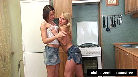 Teen cuties share dildo