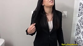 Geeky bespectacled stepmom gives a POV blowjob lesson