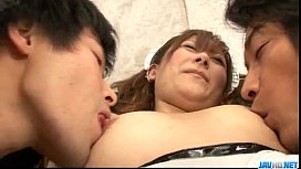 Serious trio for sleazy Japanese babe Miku Haruno