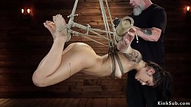 Hairy pussy slave suffers suspension