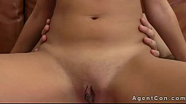Tanned chestnut babe anal fucking on casting