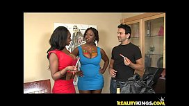 Baby Cakes bares her luscious ebony rack and gets pummeled nicely