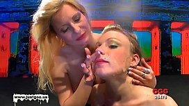 Bukkake whore and her teenie apprentice
