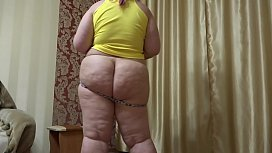Sexy chubby shakes fat booty in panties and masturbates doggystyle.