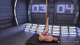 Babe after pole dance gets fucking machine