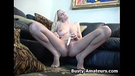 Hot blonde babe Autumn playing her boobs and pussy sex image