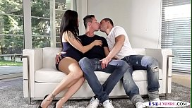 Assfucked studs spitroasting a busty babe