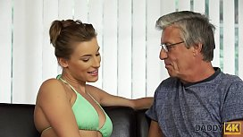 DADDY4K. Victoria Daniels likes to swim in huge pool and suck mature phallus