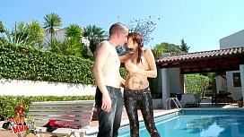 Hot spanish couple fucking by the pool