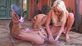 Four busty lesbian hotties indulge in kinky sex outdoors