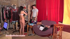 Petite amateur chick sucks a hard cock at the casting