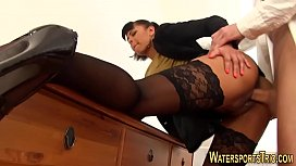 Classy babe piss soaked
