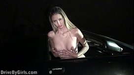Kitty Jane is getting excited in the car and undressing before public orgy