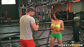 Busty Ava Black rides a dick after training