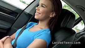 Dude grabs big boobs black teen hitchhiker in his car