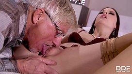 Young Milf Rebecca Volpetti'_s Grandpa fucks her tight asshole with old dick