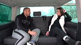 Young Beauty Eats Sperm after Drill in a Take-Van