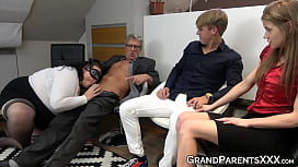 Grandaddy fucks pussy of young chick while stud fucks granny