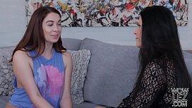 Erin Grey visits her older lesbian friend in her living room