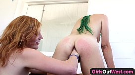 Girls Out West - Fingered hairy pussy squirts to the camera
