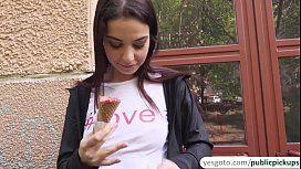 Jessica Malone flicks her tongue around a delicious ice cream and sucks cock aft