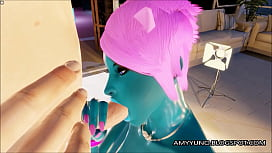 3D Blue Alien Girl With Small Tits Blows And Fucks!