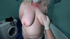 Milk enema in a mature hairy pussy. Role playing nurse from fat lesbians. POV.
