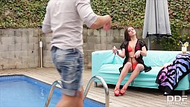 Absolutely hot escort babe Evelina Darling grabs pool boy by the balls