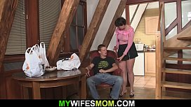 Cock-hungry old mother in law rides his cock