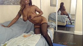 Busty Ebony Nyla Storm Bouncing Her Big Butt & Fucking Her Toys on Webcam