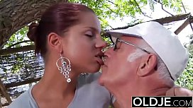 Young Gi iend caught fucked by old man she sucks his dick and swallows cum