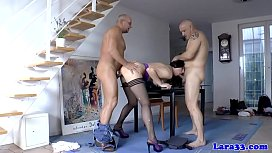 English milf gets double penetration in trio