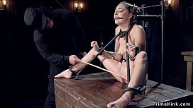 Gagged and chained slave tormented