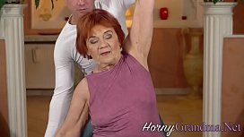 Redheaded granny plowed before sucking