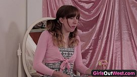 Girls Out West - Cute ginger rubs her hairy beaver