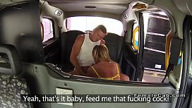 Huge tits blonde banged on her cab