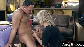 Beautiful older woman Peyton Hall slide to her knees and gets her pussy ponded from behind