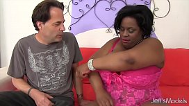 Ebony BBW Oils Up Her Big Tits and Gets Fucked