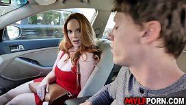 Busty MILF Summer Hart ask her stepson to drive her but he seems to be distracted with her tits.So as soon as they got home she let him fuck her cunt.