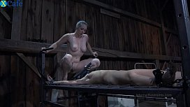 One perverted couple tortures restrained bitch in gas muzzle Elise Graves hard - Mobile Sex