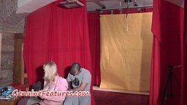 Hot backstage blowjob by nasty MILF