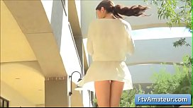 Young sexy teen amateur Adria finger fuck her tight ass and shaved pussy outdoors