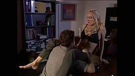 Sexy blonde skank with big boobs gets doggy style fucking and cum on her feet