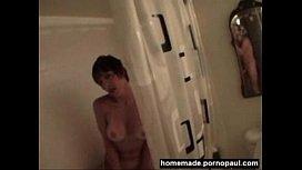 Mature amateur sucks dick after shower