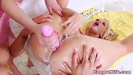 Milk enema babes squirting and toying asshole