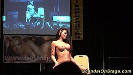 big boob flexi milfs stripping on public stage