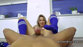 Blonde gives footjob in socks