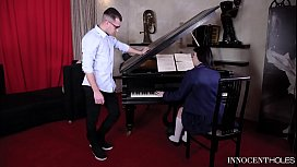 Innocent schoolgirl Mia Evans gets her shaved pink fucked by piano teacher