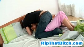 Horny guy rips up stepsis pajamas and bangs her wet pussy and tight ass